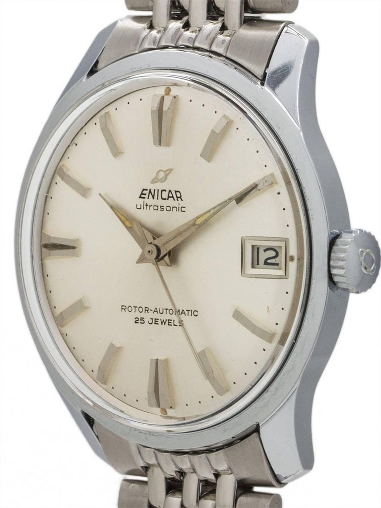 Enicar stainless steel Ultrasonic Self Winding Wristwatch, circa 1960s In Excellent Condition For Sale In West Hollywood, CA