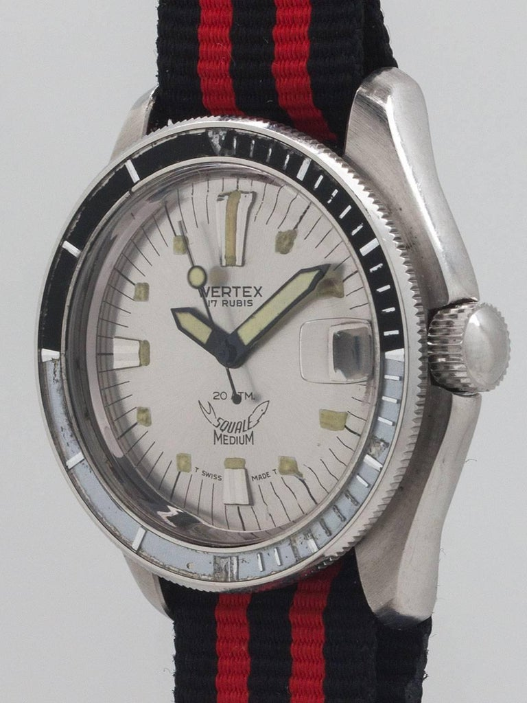 "Wertex Squale Swiss Diver's circa 1960s. Featuring 35 X 40mm screw back case, acrylic crystal, black and white bakelite elapsed time bezel, and great looking original white ""radius""  dial with luminous indexes and oversized luminous hands. Powered"