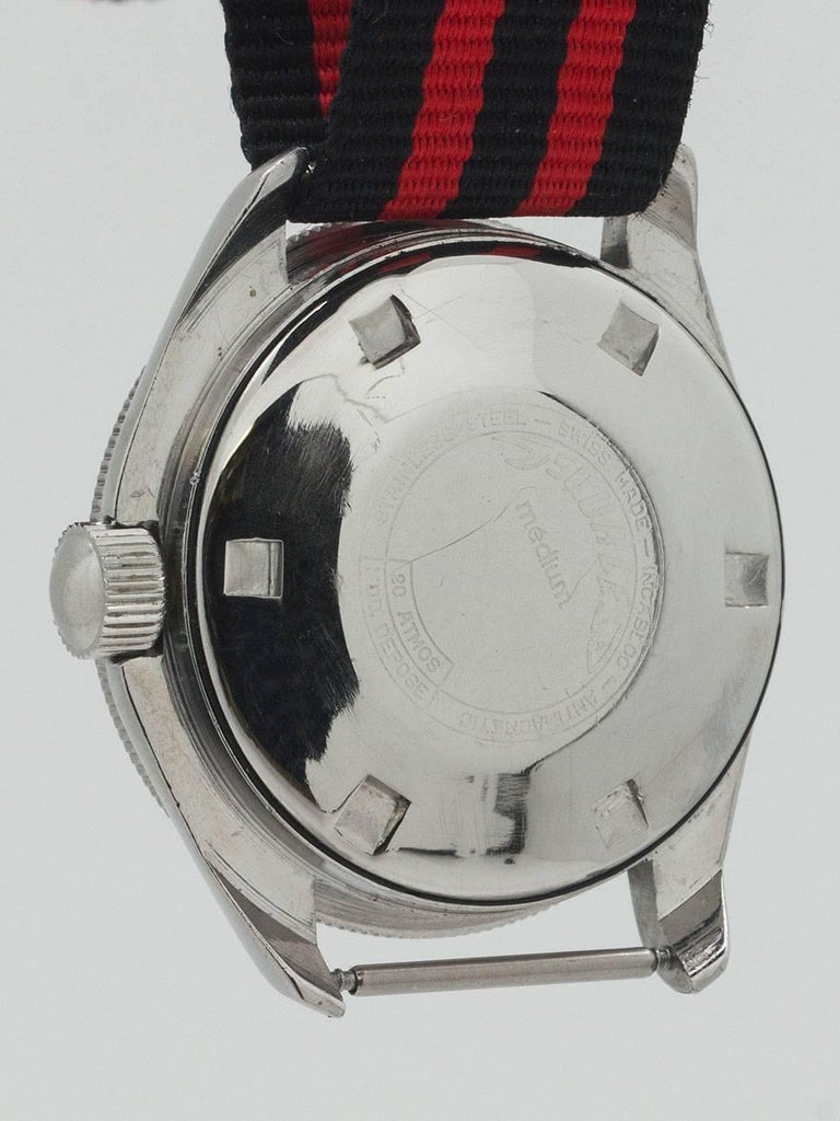 Wertex Squale Stainless Steel Diver's Self Winding Wristwatch, circa 1960 In Excellent Condition For Sale In West Hollywood, CA