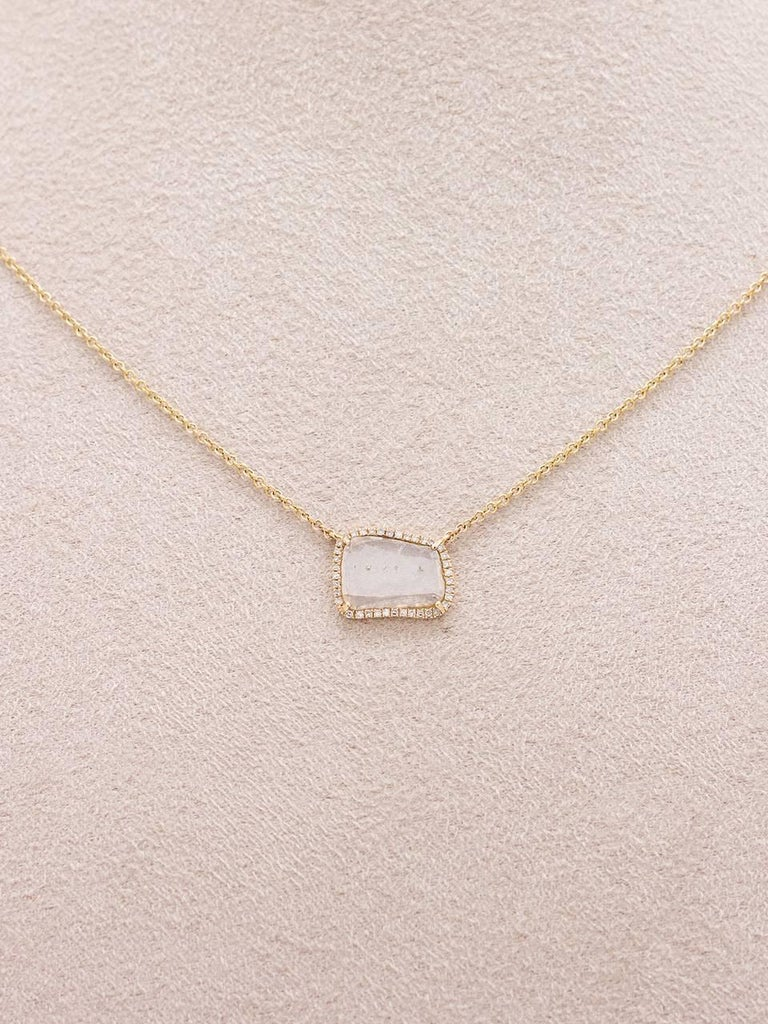 Modern Diamond Slice Pave 14K YG Pendant Necklace 0.66ct In As new Condition For Sale In West Hollywood, CA