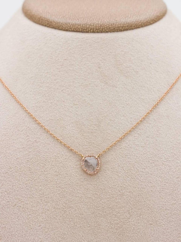 Modern Diamond Slice Pave 14K Pink Gold Pendant Necklace 0.08ct  In As new Condition For Sale In West Hollywood, CA