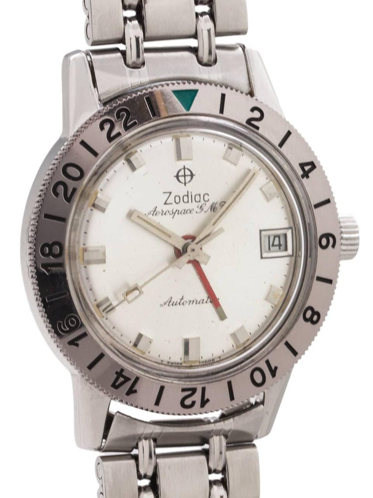Zodiac Stainless Steel Aerospace GMT Bracelet self winding wristwatch, c1960s In Excellent Condition For Sale In West Hollywood, CA