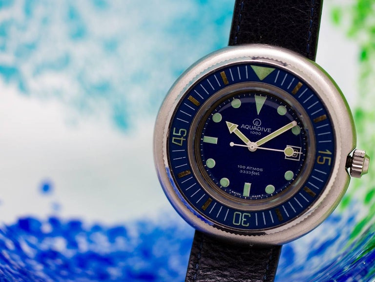 Aquadive stainless steel 1000 self winding wristwatch, circa 1960s For Sale 1
