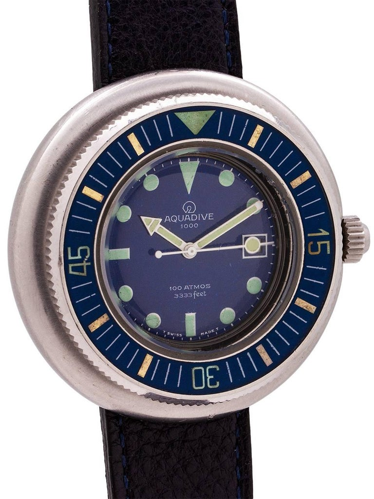Aquadive stainless steel 1000 self winding wristwatch, circa 1960s In Excellent Condition For Sale In West Hollywood, CA