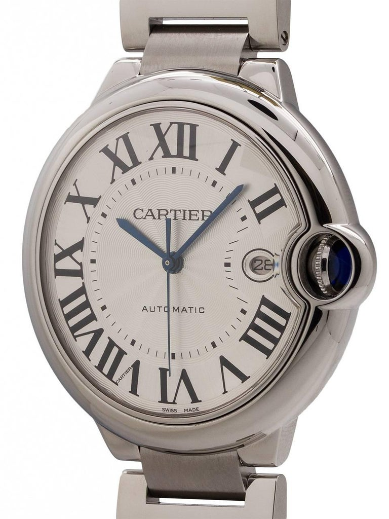 Cartier man's large 42mm stainless steel Ballon Bleu ref 3765 circa 2000's. Featuring dome design case with smooth bezel, sapphire crystal and protected blue sapphire cabochon crown. Featuring classic silvered guilloche dial with large printed