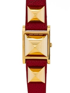 Ladies Hermes Yellow Gold Filled Medor Red Strap