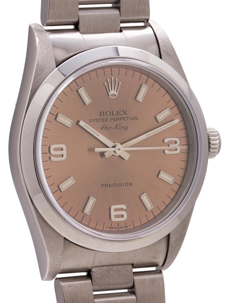 Rolex Stainless Steel Airking Explorer Dial self winding wristwatch, c 1996 In Excellent Condition For Sale In West Hollywood, CA