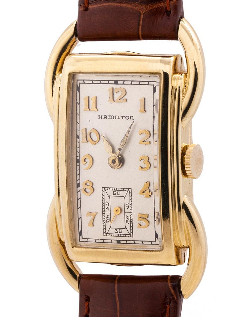 Hamilton Yellow Gold Bentley manual wind wristwatch, circa 1939 In Excellent Condition For Sale In West Hollywood, CA