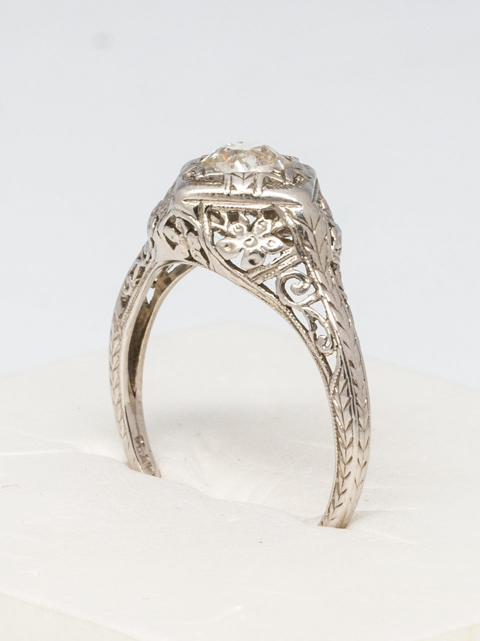 Art Deco 1920s Diamond Platinum Engagement Ring For Sale