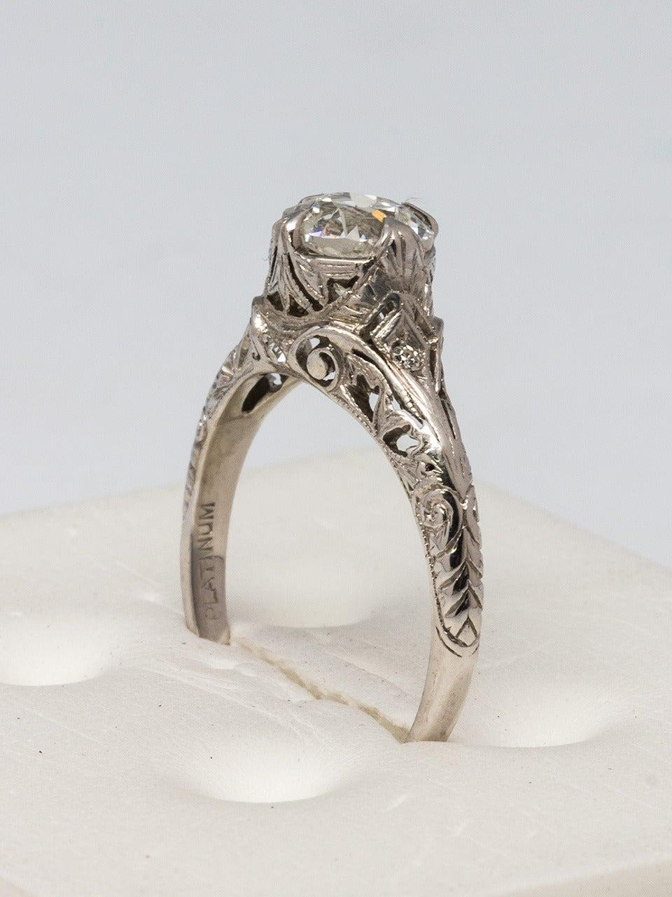1920s Diamond Platinum Engagement Ring 3