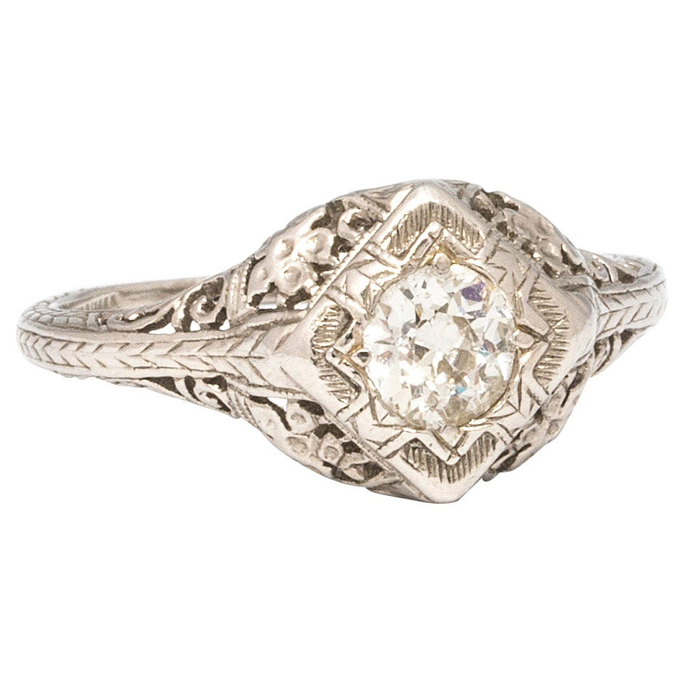 1920s Diamond Platinum Engagement Ring For Sale