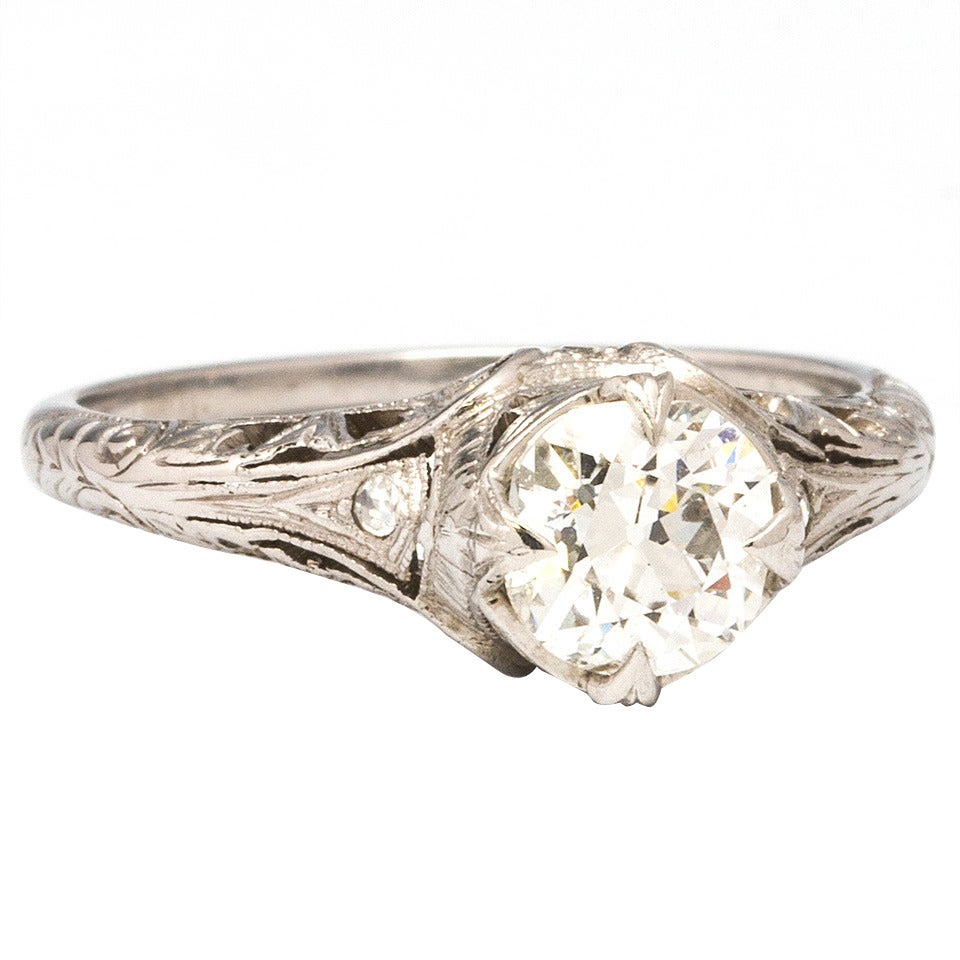 1920s Diamond Platinum Engagement Ring For Sale