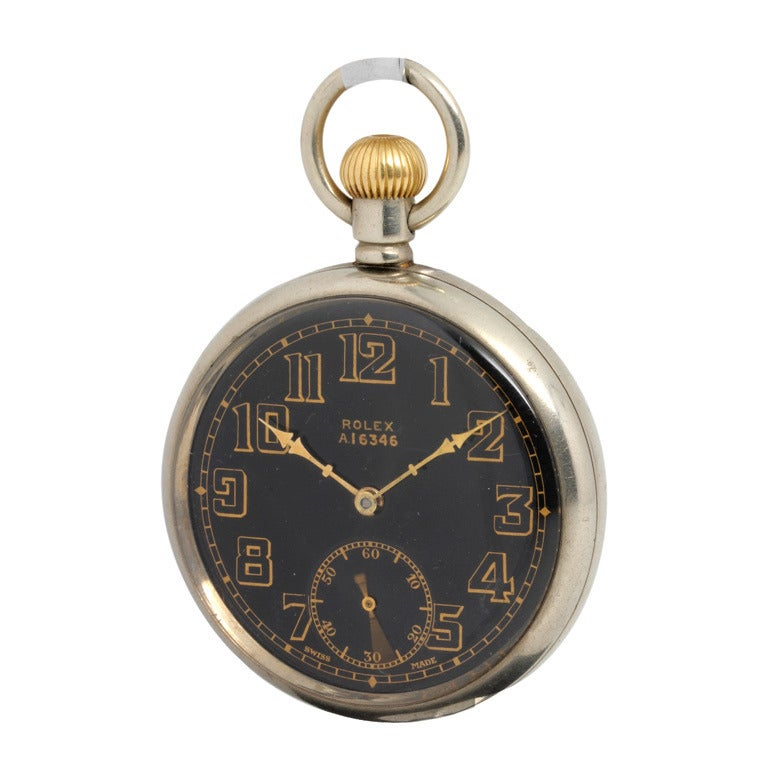 Rolex Open Face British Military Pocket Watch With Black
