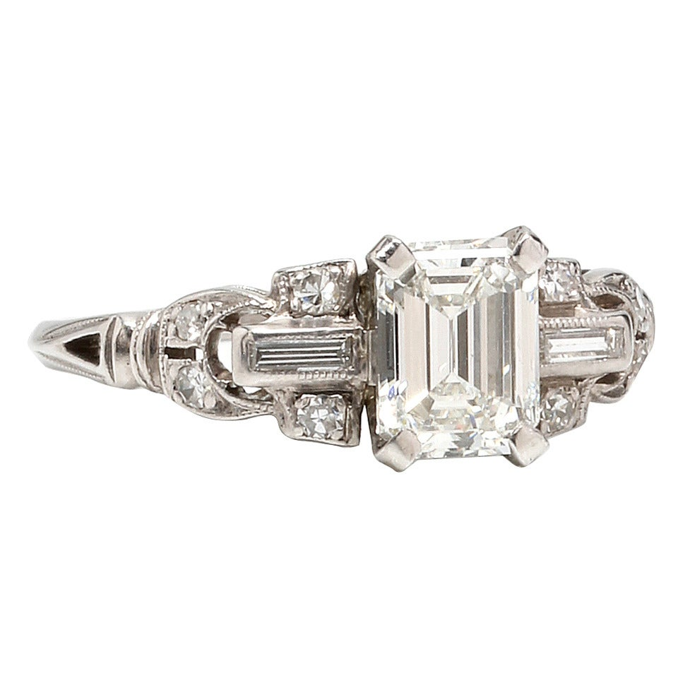 1930s emerald cut platinum engagement ring at 1stdibs