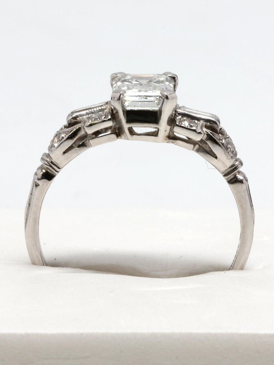 1930s emerald cut platinum engagement ring at 1stdibs