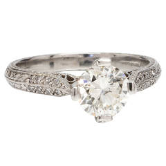 """New Vintage"" Platinum Engagement Ring Certified 1.05ct Transitional Cut H-VS1"