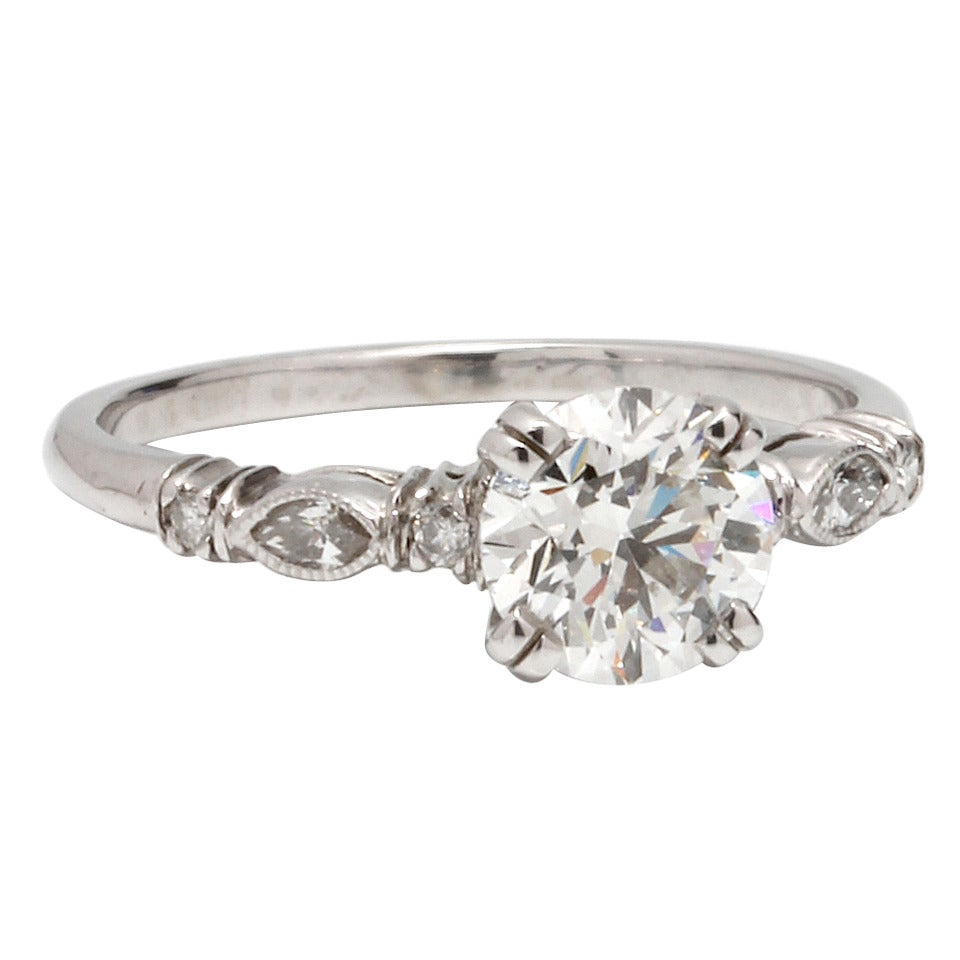 1930s Inspired Platinum And Round Brilliant Cut Diamond Engagement Ring 1