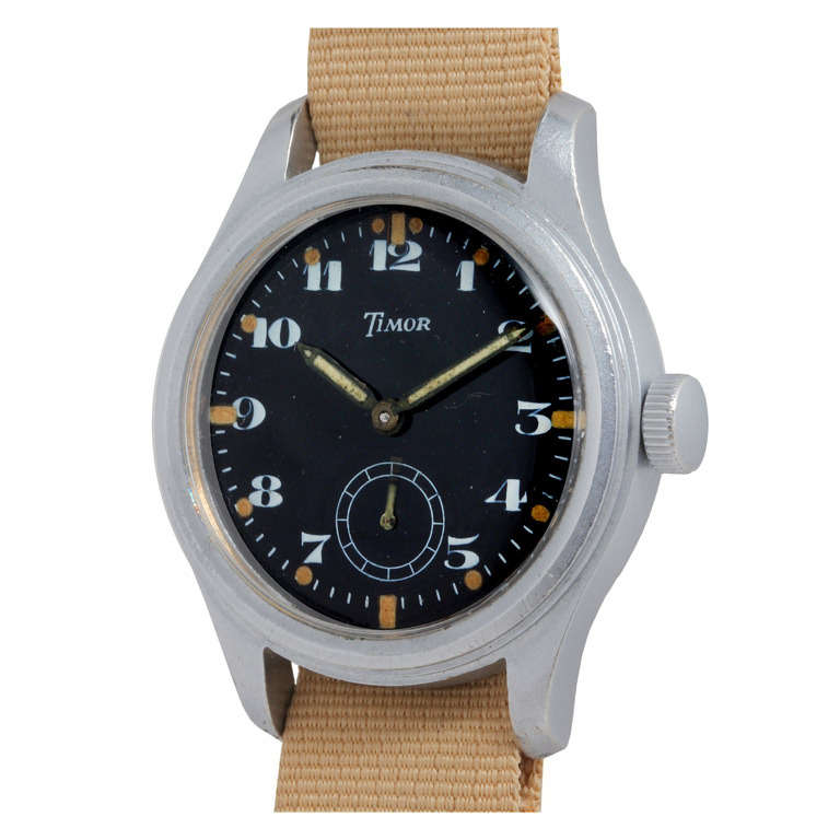 Timor Brushed Metal British Military Broad Arrow Wristwatch circa 1940s