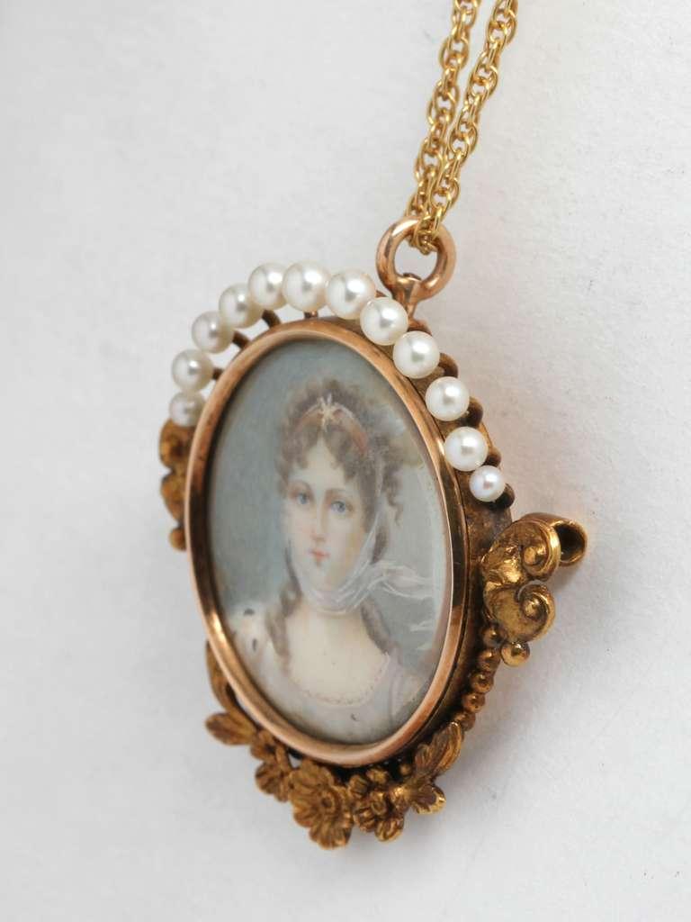 19th Century Gold Portrait Miniature Necklace 3