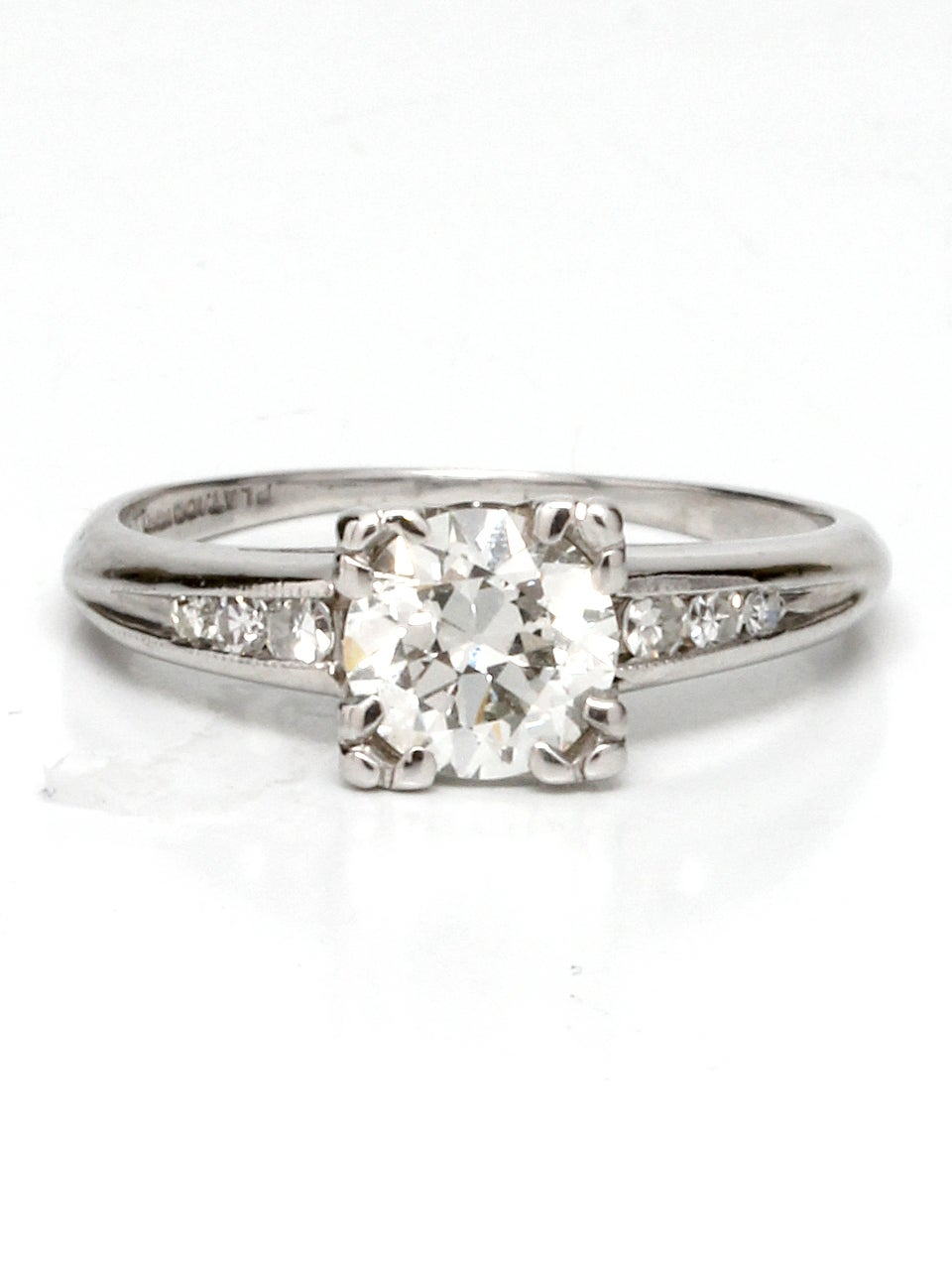 Vintage Diamond Engagement Ring Platinum 0.86ct Round ...