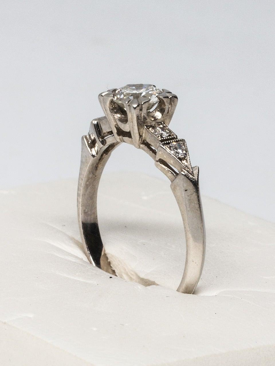 1940s Platinum And Old European Cut Diamond Engagement