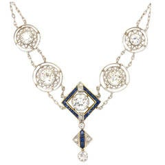 1920s Art Deco 3.50 Carat Platinum 18 Karat and Diamond Lavalier Necklace