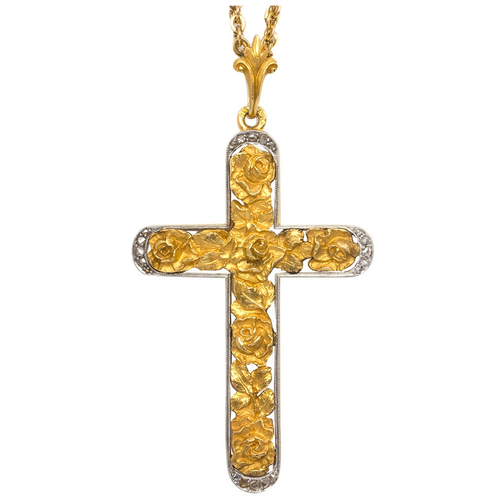 Platinum and Gold Rose Cross with Rose Cut Diamonds 1