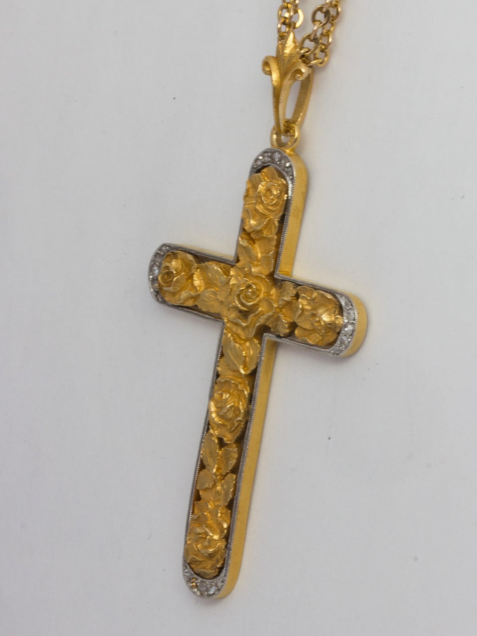 Platinum and Gold Rose Cross with Rose Cut Diamonds 3