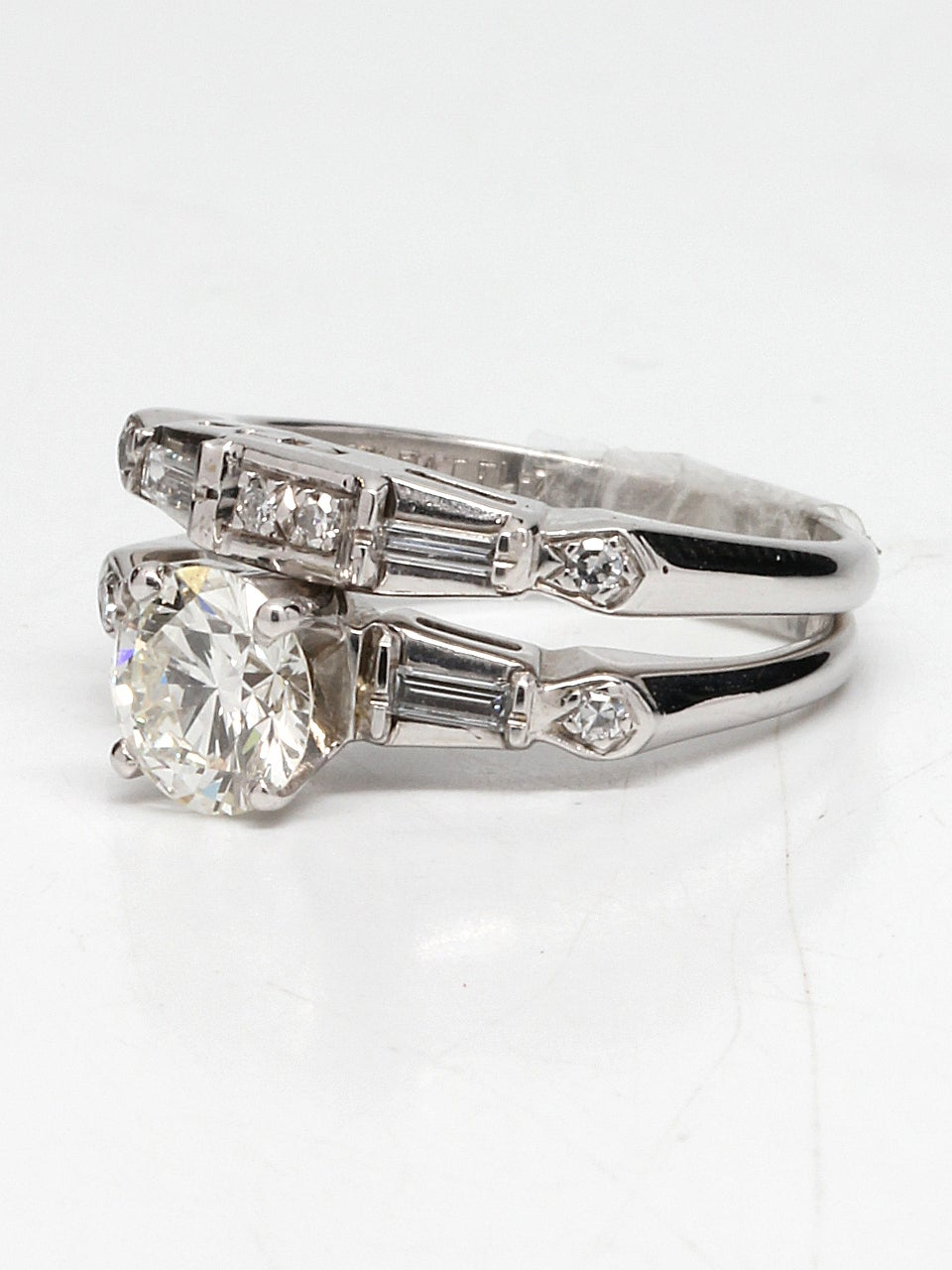 1950s Diamond Gold Wedding Ring Set For Sale at 1stdibs