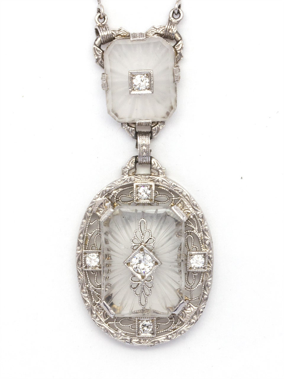 Antique Frosted Crystal Diamond Lavaliere Necklace, circa 1920s 2