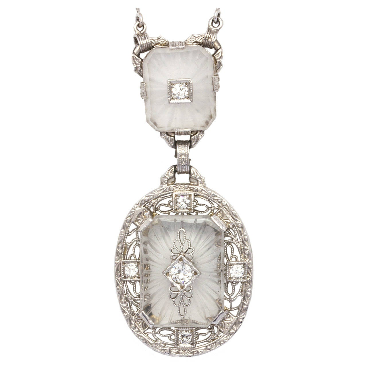 Antique Frosted Crystal Diamond Lavaliere Necklace, circa 1920s For Sale