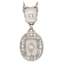 Antique Frosted Crystal Diamond Lavaliere Necklace, circa 1920s