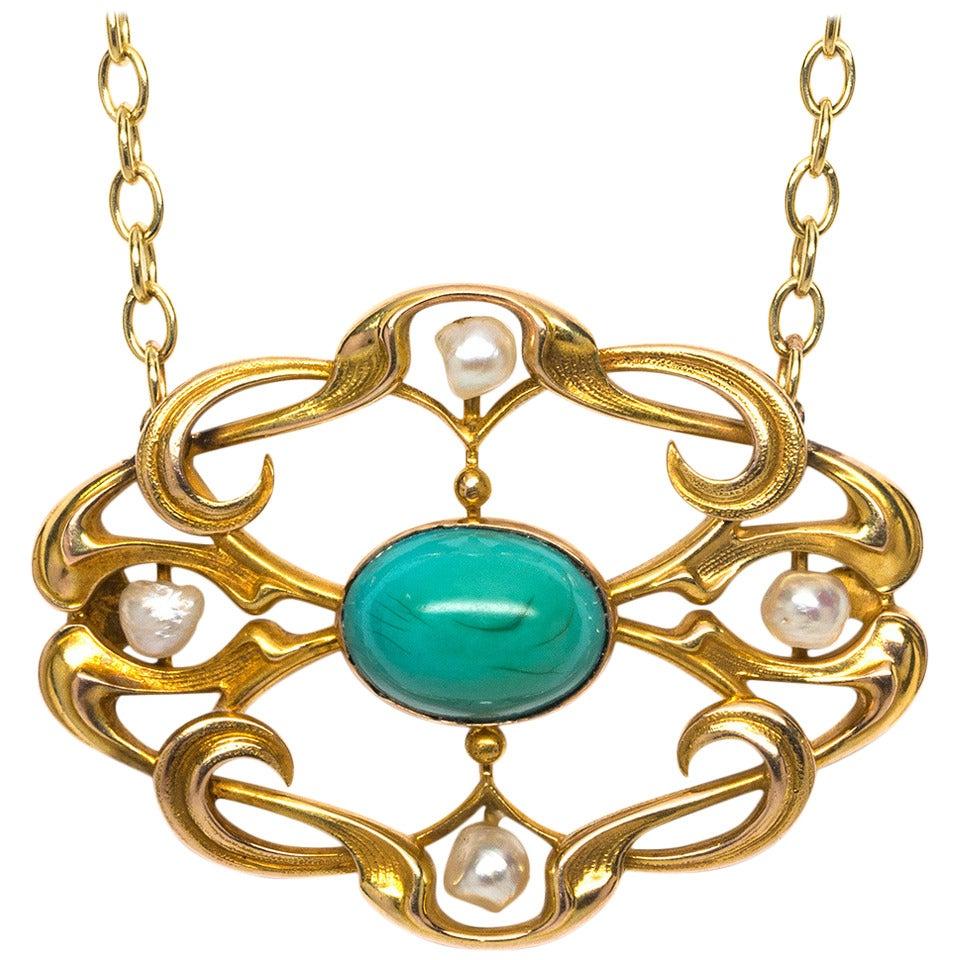 Art Nouveau Pearl Turquoise Gold Necklace For Sale