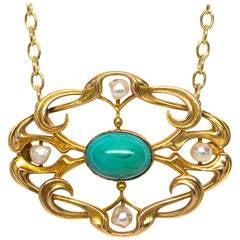Art Nouveau Pearl Turquoise Gold Necklace