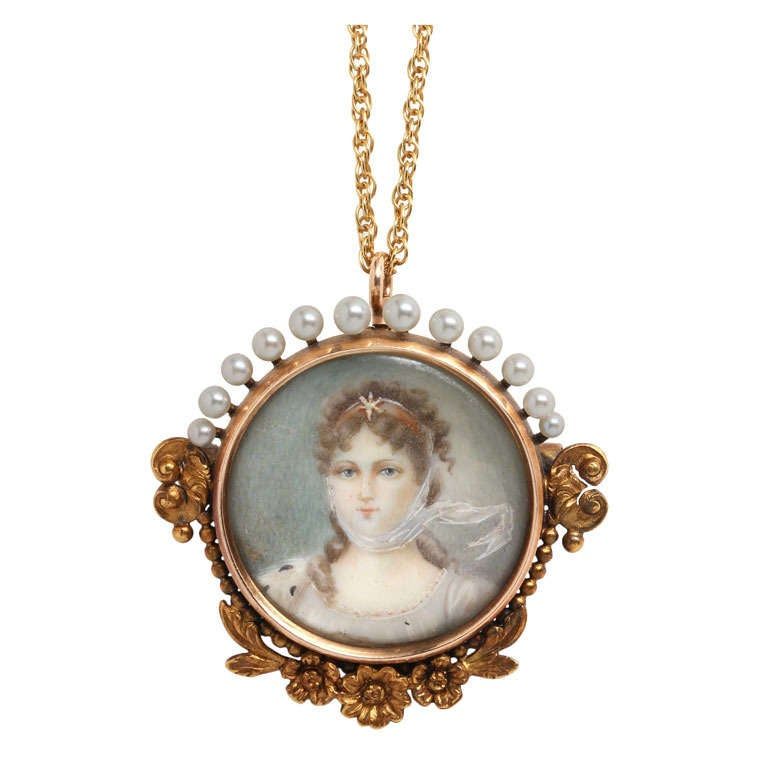 19th Century Gold Portrait Miniature Necklace For Sale