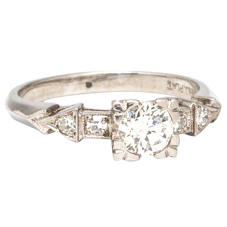 1940s Platinum and Old European Cut Diamond Engagement Ring H-VS1