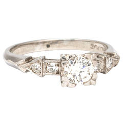 1940s Platinum and Old European Cut Diamond Engagement Ring H-VS1