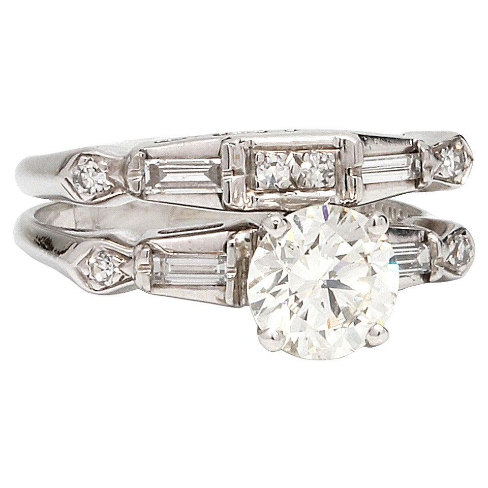 Vintage Diamond Engagement Ring Wedding Set 14K WG 0.93ct I-VS1 circa 1950s