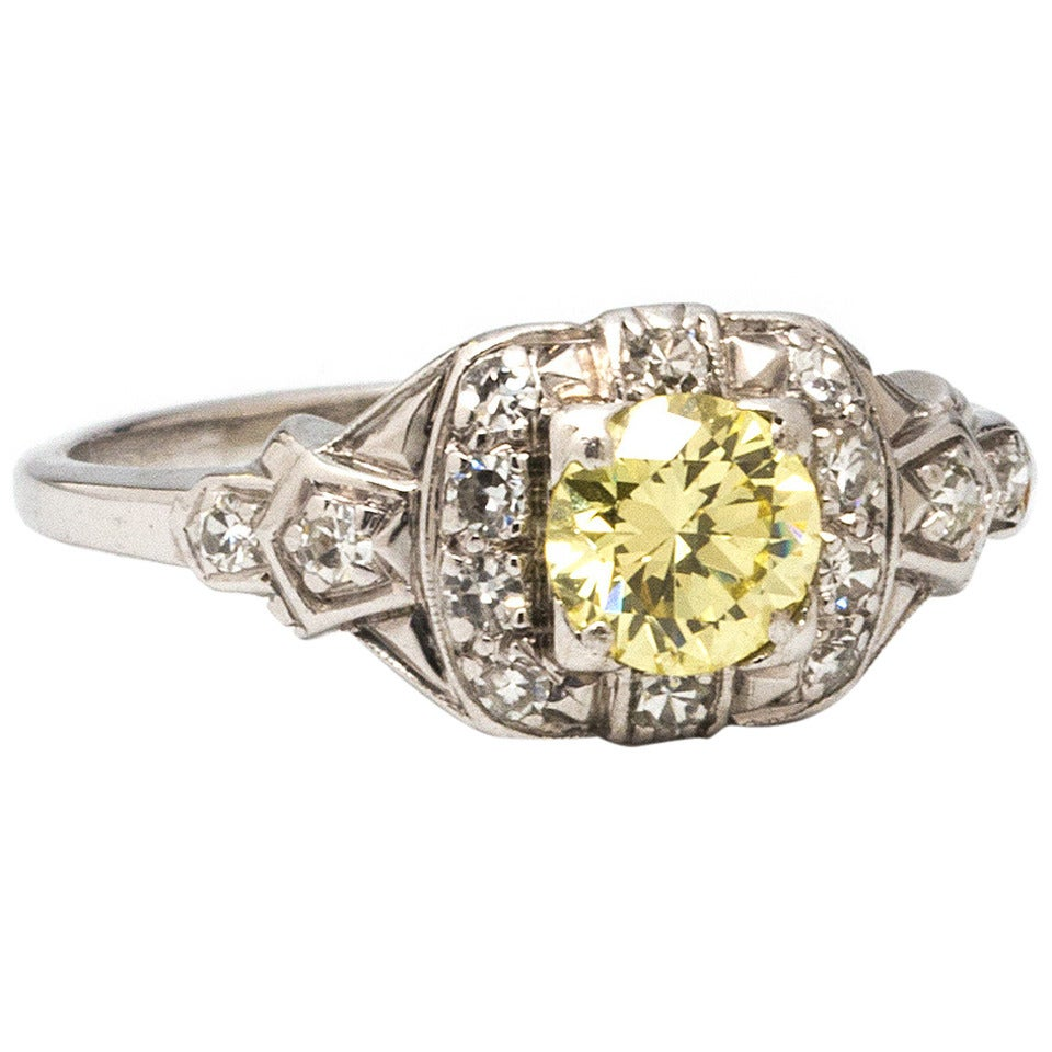 1930s Yellow Diamond Platinum Engagement Ring 1