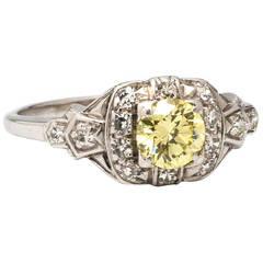 Vintage Yellow Diamond Engagement Ring 0.54 Carat, circa 1930s