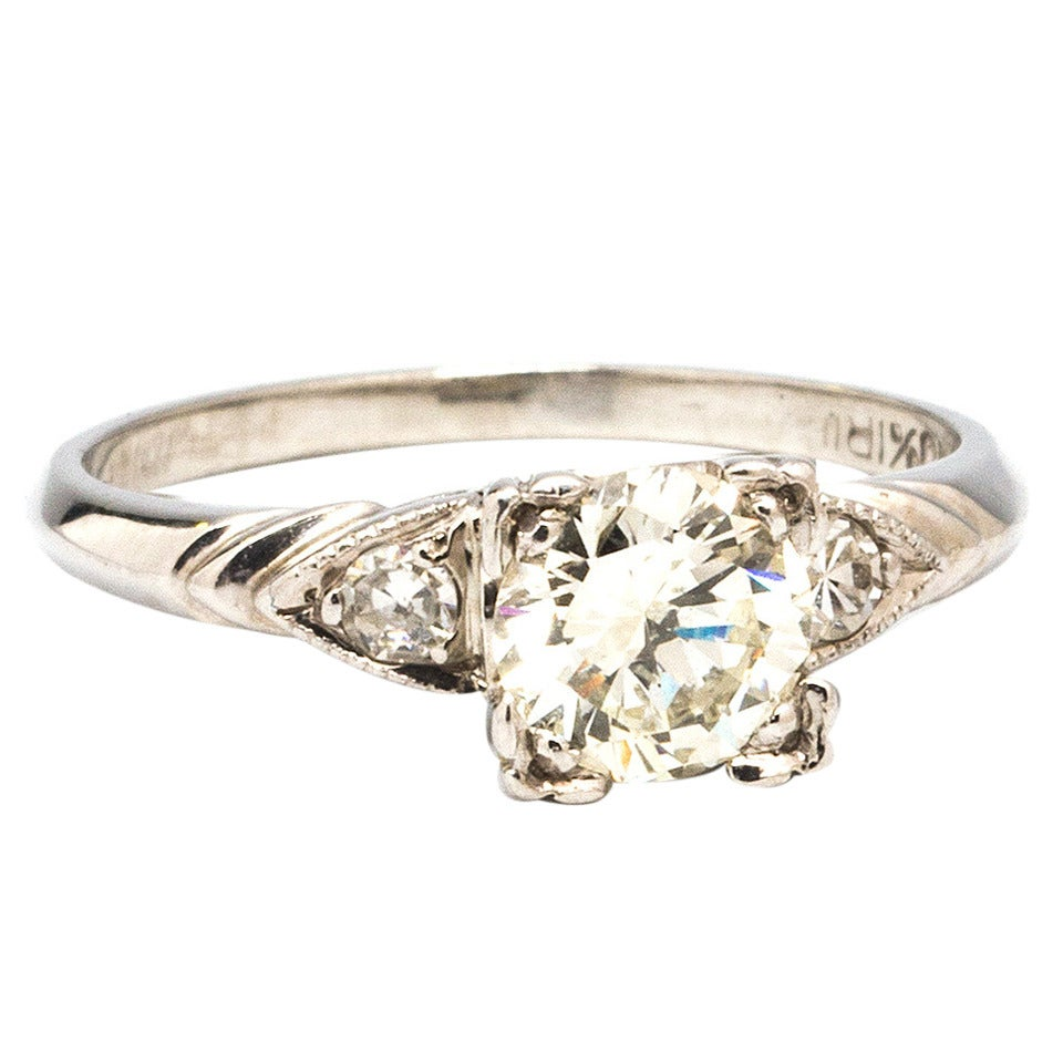 1950s Diamond Platinum Engagement Ring at 1stdibs