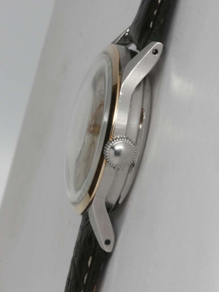 Mido Stainless Steel and Gold Multifort Wristwatch circa 1950s 4
