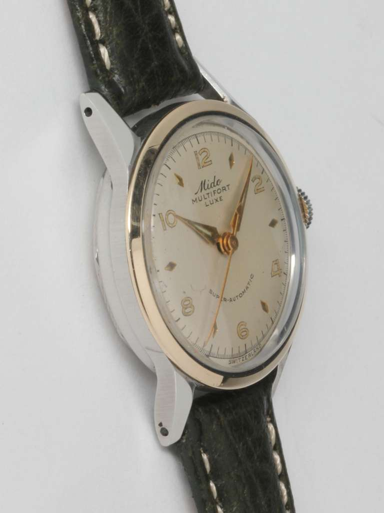 Mido Stainless Steel and Gold Multifort Wristwatch circa 1950s 2