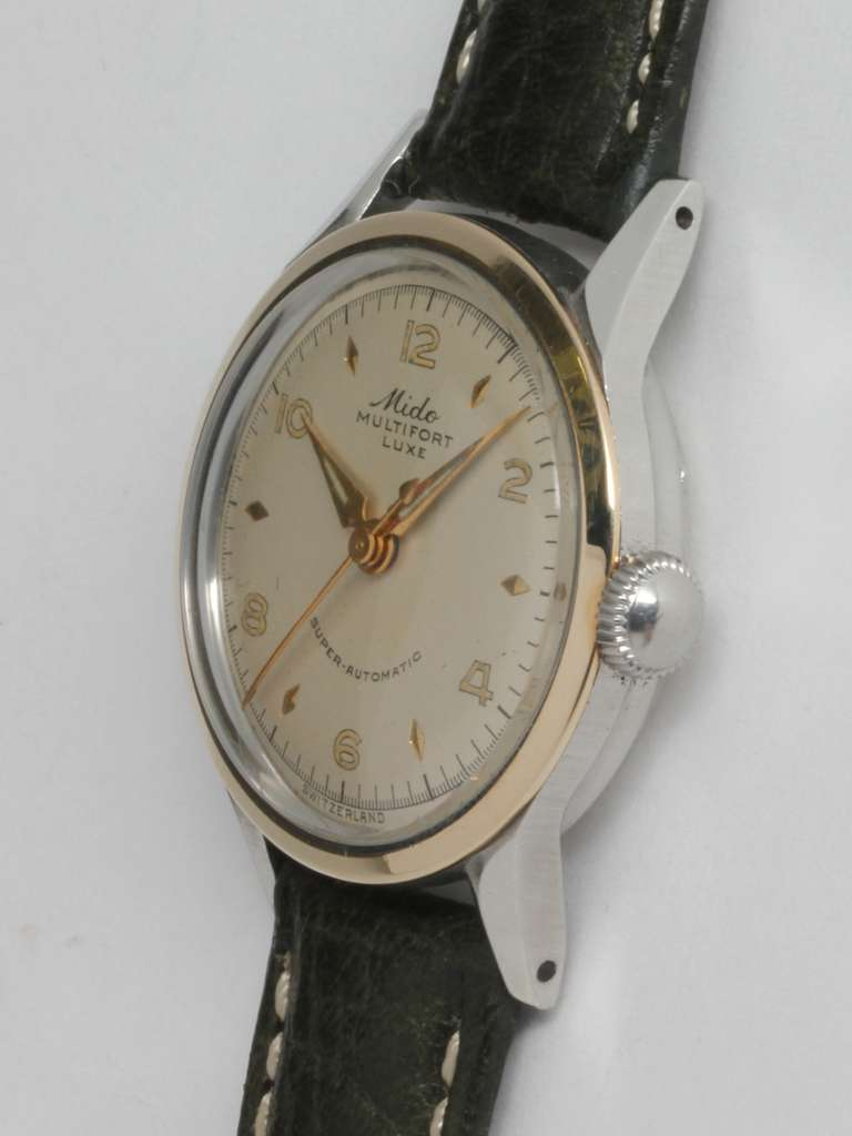 Mido Stainless Steel and Gold Multifort Wristwatch circa 1950s 3
