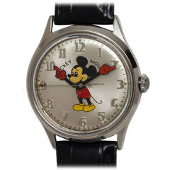 Helbros Stainless Steel Mickey Mouse Wristwatch circa 1970s