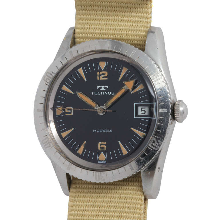 Technos stainless steel diver 39 s wristwatch circa 1960s at 1stdibs for Technos watches