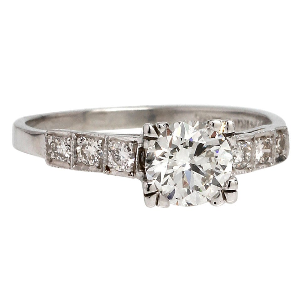 Vintage Engagement Ring Platinum 0.77ct Round Brilliant F ...