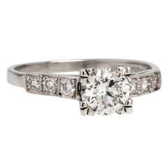 1930s Vintage Diamond Engagement Ring Platinum 0.77 Carat Round Brilliant F-VS1