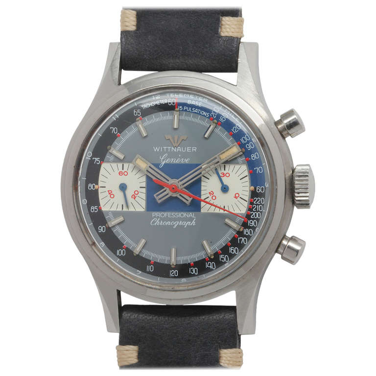 Wittnauer Stainless Steel Chronograph Wristwatch circa 1970s