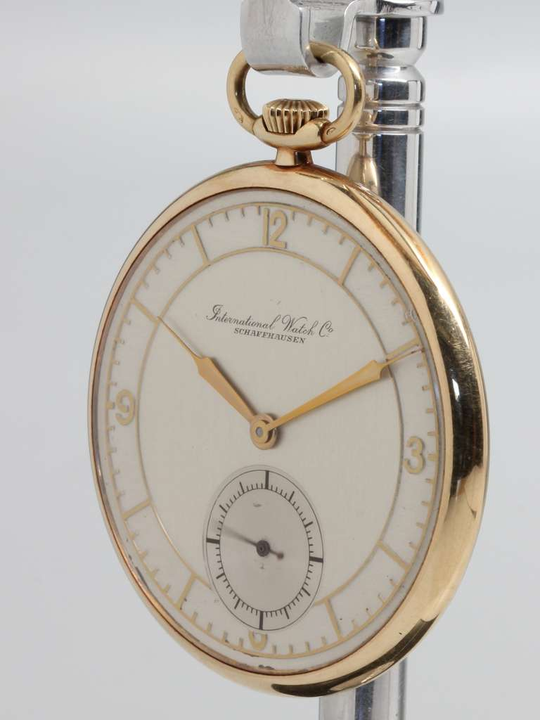 77aaccdc7 IWC Yellow Gold Pocket Watch circa 1940s In Excellent Condition For Sale In  West Hollywood,